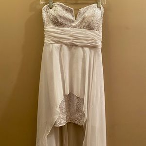 Arden B High Low White Sequin Dress